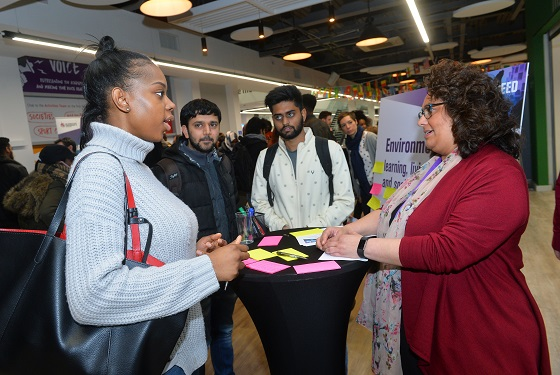 Discussions with students at event